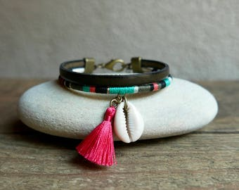 Bohemian bracelet for women, ethnic jewelry handmade for her, leather and cotton cuff, charms and coral tassel, Gift handcrafted