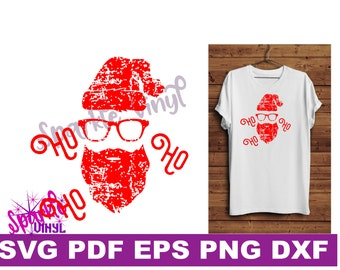 Svg Distressed Grunge Christmas Santa shirt svg cut file for cricut or sihouette, Christmas Decor printable, Hipster Santa Santa shirt svg,