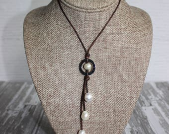 Imagine Charm Pearl and Leather Necklace, Adjustable Pearl and Leather Necklace, Pearl and Leather Necklace, Pearl Necklace, Pearl Jewelry
