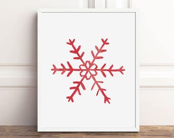 Scandinavian Christmas Snowflakes, Instant Download, 8x10 Print, Holiday Decorations, Watercolor Printable Art, Red Nordic Seasonal Decor