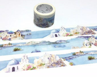 Blue Villas mediterranean sea landscape washi tape 5Mx 3cm ocean villa blue sky blue sea nature scenes travel planner sticker wide tape