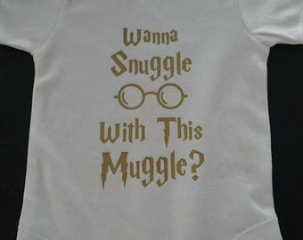 Snuggle Muggle BabyGrow, Funny BabyGro, Bodysuit, Geek Gift, Baby Clothes, Baby Gift, Hogwarts, Harry Potter, Baby Shower, Fiver Friday