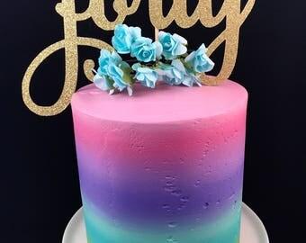 Forty cake topper, 40th cake topper, 40th birthday, milestone cake topper