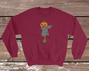 Funny Dabbing Halloween Sweatshirt For Men | Dabbing Scarecrow With Pumpkin head  Sweatshirt