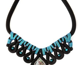 Rope, Pearl and Shell Cabachon Statement Wave  Necklace in Black and Tuquoise - Tribal Style