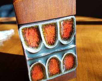 Vintage Lighter with Teak and Fused Glass Tile 1960's