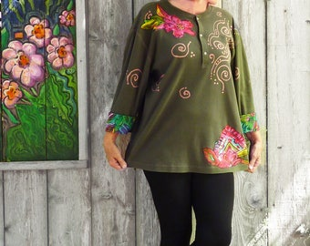 Plus size Levi henley, artsy tunic, army green, size 1X- 2X, gypsy top, cotton, Carole Little applique, oversize, one size, one of a kind