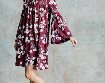 Luna Bellsleeve Dress (Burgundy Floral) - Bellsleeve dress with front and back gathering