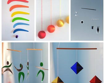 Set of 5 Montessori Mobiles. Munari. Orange Gobbi. The Dancer Mobile. The octahedron Mobile. The Rainbow mobile.