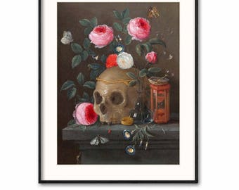 "Still Life Print, Skull Decor (Vanitas Painting Download, Printable Skull Art) -- 1665 ""Vanitas"" by Jan Van Kessel"