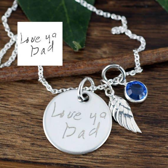 Handwritten Memorial Necklace Custom Handwriting Jewelry