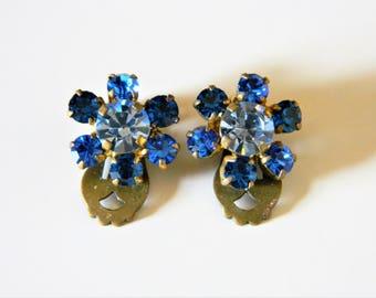 Vintage 50s Blue Rhinestone Flower Earrings Marked Austria, Floral Earrings, Austria Jewelry, Delicate Earrings, 50s Wedding