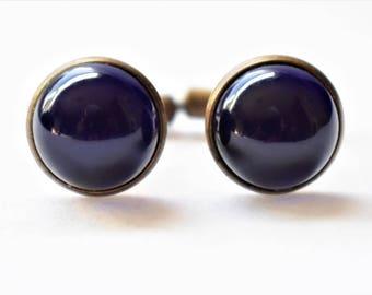 "Vintage Art Deco Cufflinks Blue Cabochon Glass Men's Retro Formal Wedding Wear Accessories Groom Gift 3/4"""