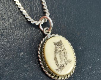"Vintage SOLID SILVER Faux Scrimshaw OWL Pendant & 15"" Sterling Silver Chain - Necklace"