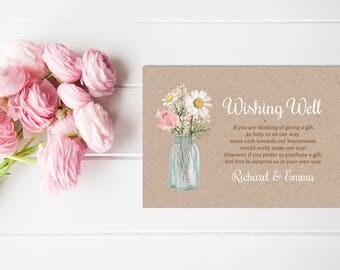 Floral Mason Jar Wishing Well Printable Card, Floral Wedding Wishing Well Insert, Rustic Kraft Honeymoon Wish. Bridal Shower Download 101-B