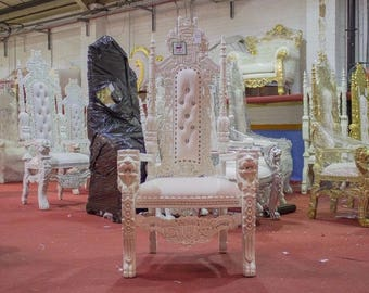 BRAND NEW   Lion King Queen Throne Chair White Leaf Gilded Gilt   Weddings Furniture  Thrones