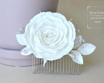 Wedding hair comb White rose Hair Comb Bridal hair comb Bridal comb Decorative comb Wedding accessories White Wedding Comb Bridal hair piece