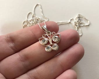Vintage Cubic Zirconia Butterfly 925 Sterling Silver Pendant Necklace
