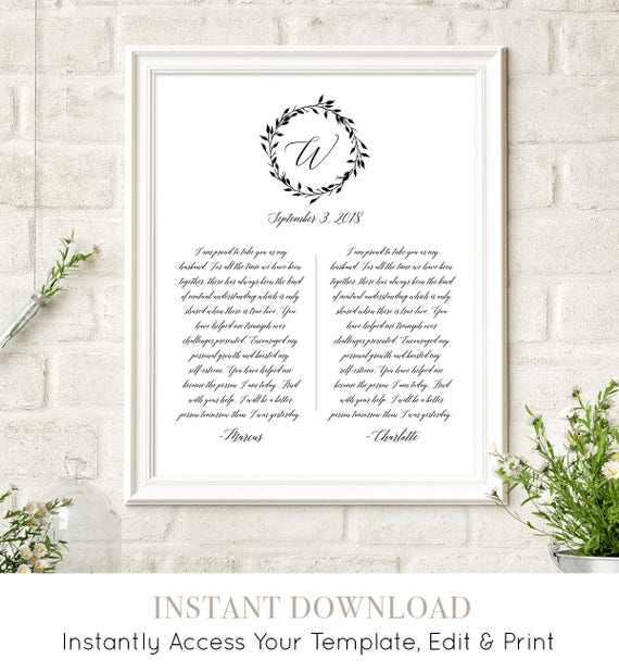 1st Year Anniversary Gift, Paper Anniversary Gift, Wedding Vow Keepsake Print, 100% Editable Template, Printable,  8x10 & 16x20 #034-109LS