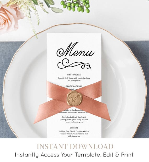 Editable Menu Template, Romantic Wedding Reception Menu Card, Printable Men, 100% Editable, Instant Download, Digital, Templett #035-105WM
