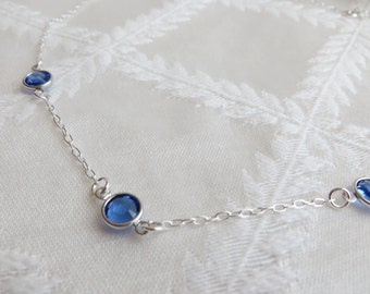 """Sterling Silver Necklace with Swarovski Sapphire Channel Links, 18"""", SN-249-2"""