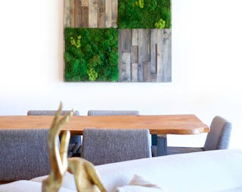Wood wall art, moss and wood collage, large art, wood wall sculpture