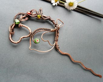 Bird hair pin, Hair fork, Copper hair stick, Gift for her, Hair jewelry, Hair Accessories Women, Hair stick, Sparrow unusual hair pin