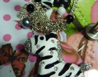 Long necklace chain pendant silver metal rhinestone polymer clay licorice enamel metal Zebra polymer clay and various beads