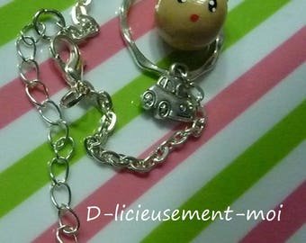 Chain bracelet silver-plated boy Hat car charm and fimo polymer clay kawaii