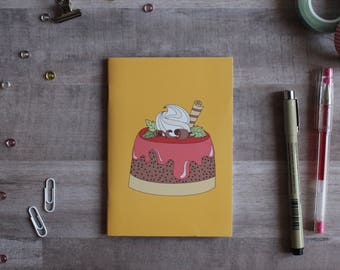 NOTEPAD. A6 Cute Cake Notepad. Soft 300 gsm Card Cover. 40 blank pages. Matte lamination pleasant to the touch.