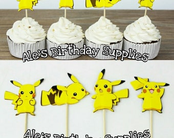 24 Pc Pokemon Pikachu Cupcake Toppers Double Sided Birthday Party Supplies
