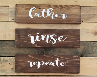 Rustic Wood Bathroom Sign Set | Lather Rinse And Repeat | Farmhouse Decor | Country Home