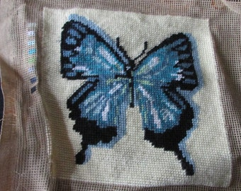 Pretty vintage French completed Papilio Ulysses butterfly petite wool tapestry ideal cushion cover