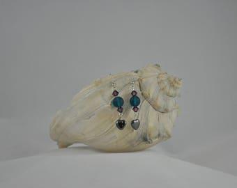 Heart earrings, Blue earrings, Purple earrings, Recycled glass earrings, Dangle earrings, Silver earrings