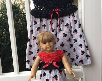 Dolly and me dresses,American girl doll dress, Disney dress, Minnie mouse, Minnie mouse dress, Disney vacation dress, little girls dress,
