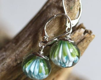 Glass flower earrings - Silver accessories - Glass implosion flowers - Turquoise blue green spring summer themes - Gentle soft and tender
