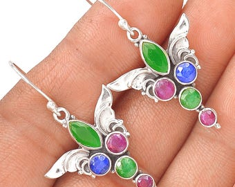 Pair of Silver earrings 925 with genuine gemstones - unique - emerald sapphire Ruby