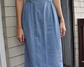 Vintage Minimal 90s Light Wash Denim Blue Cotton Maxi Skirt