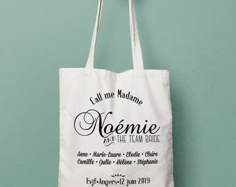 Personalized tote Bridal Party gift - Bridesmaids bag - Bridal tote bag Bachelorette - tote bag Canvas with your text and beautiful fonts.