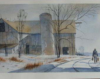 Barn watercolor painting, rustic barn. silo, Winter landscape painting, old barn, wood barn, #167