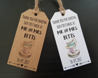 Afternoon Tea Wedding - Wedding High Tea - Tea Party Favour Tags - Teacup Wedding Stationery - First Meal Tags - Vintage China Wedding Theme