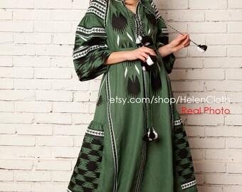 Green women long dress with embroidery, Ukrainian vyshyvanka dress mexican dress Abaya, Caftan Light spring style Boho chic Ethno look folk