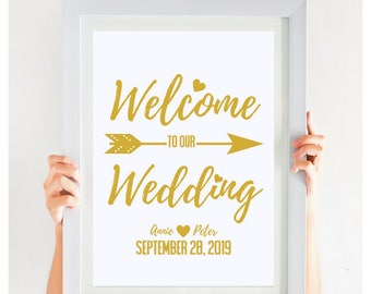 Welcome To Our Wedding, Welcome Sign, DIY Wedding, Printable, Gold Wedding, Gold Wedding Decor, Welcome Poster, # CWS306_1511C