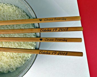 New Personalized Chopsticks, Custom Chopsticks, Bamboo Chopstick, Wedding Favors, Rustic Chopstick, Wedding Chopsticks, Min. Order 3pair