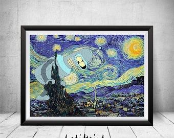 Futurama Bender Poster, Starry Night Print, Parody Art, Painting Art, Futurama Bender Print, Wall Decor, Futurama Bender Art, Bender Prints