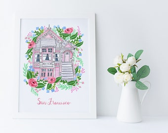 Pink San Francisco Victorian Floral Feminine Illustration Art Print