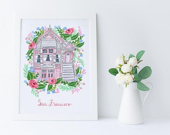 Pink San Francisco Victorian Floral Feminine Illustration Art Print
