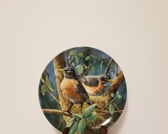 "Vintage 1986 Edwin M. Knowles ""The Robin"" Kevin Daniel Collectible Porcelain Plate, Collectible Bird Plate, Bird Collectibles"