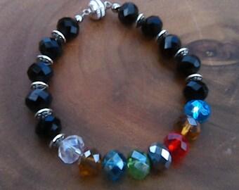 Black Swarovski Crystal Element Bracelet and Color Swarovski Crystal Element Beads
