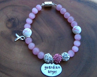 Breast Cancer Awareness Ribbon Charm Bracelet- Guardian Angel Charm, Pink and White Rhinestone Beads, Pink Cat Eye Glass Beads, Magnetic